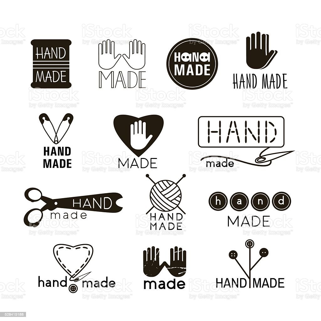 Set of hand made labels, badges and logos for design. vector art illustration