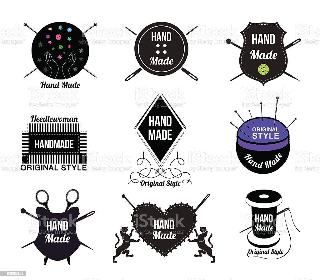Set of Hand made logo, labels and design elements. vector art illustration