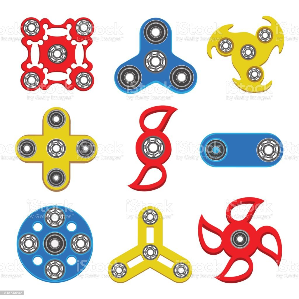 Set of Hand spinner toys, flat vector icons vector art illustration