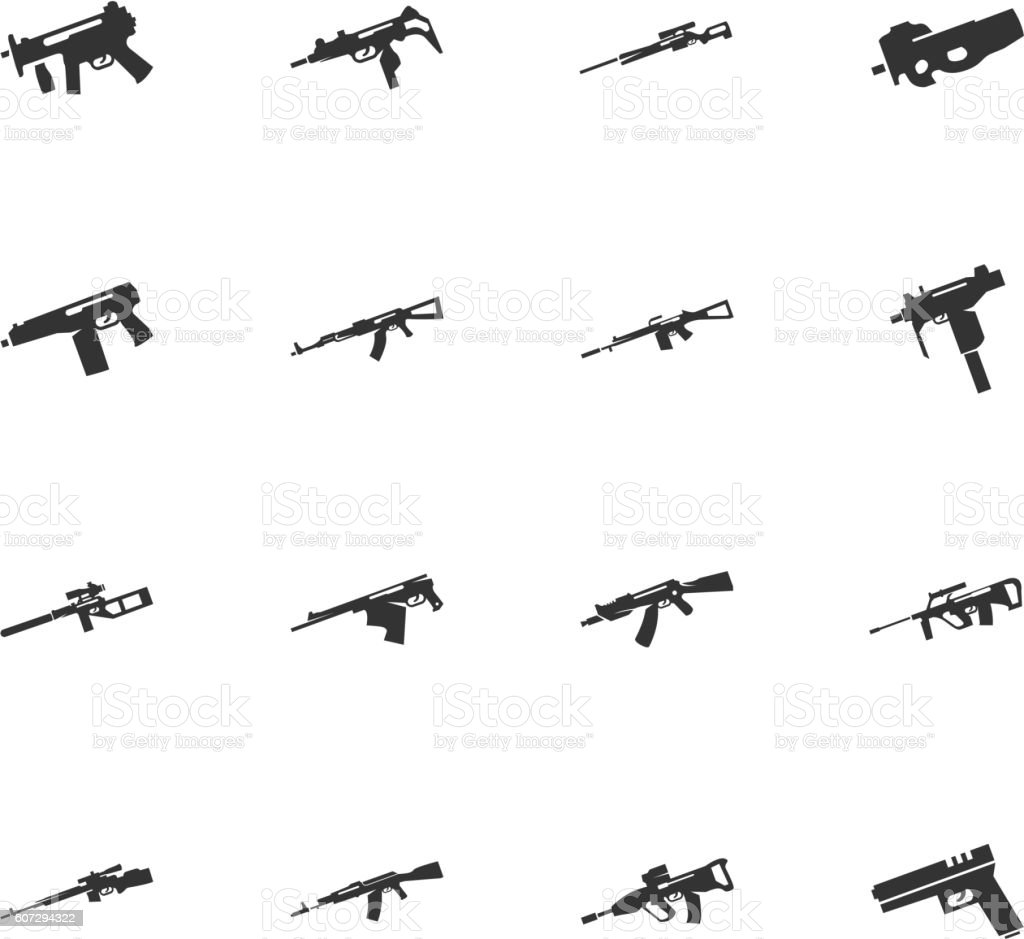 Set of hand weapons vector art illustration