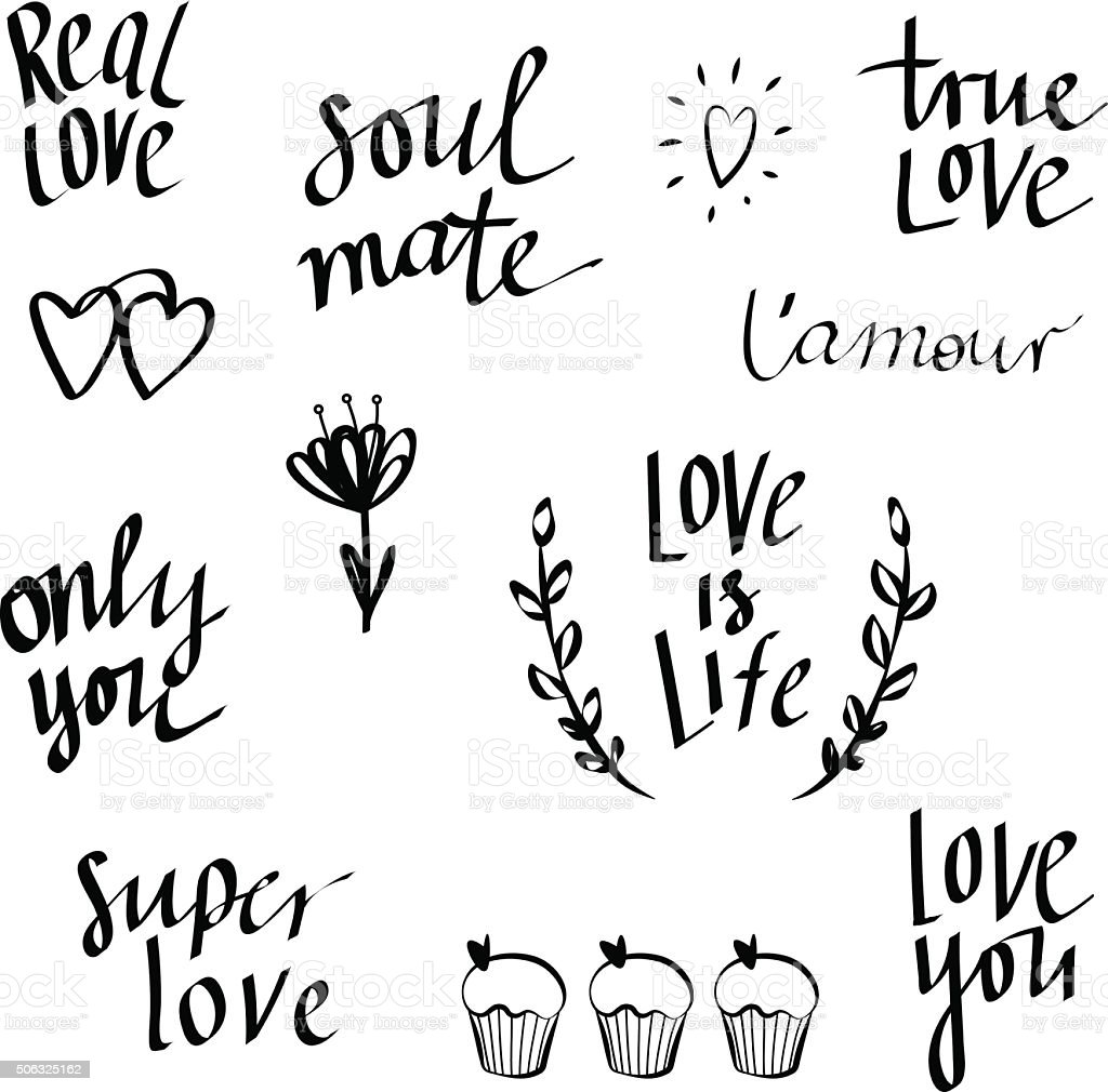 Set of hand written love doodle, lettering. vector art illustration