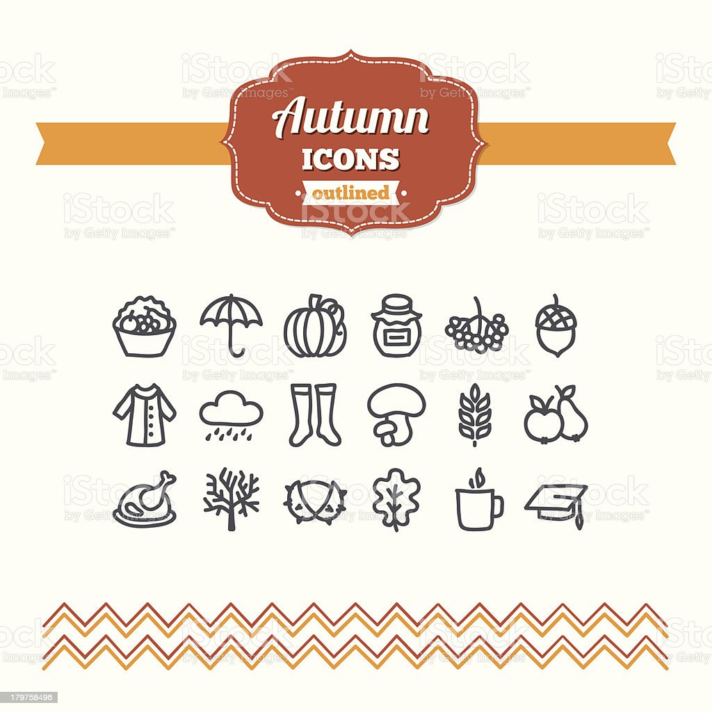 Set of hand-drawn autumn icons royalty-free stock vector art