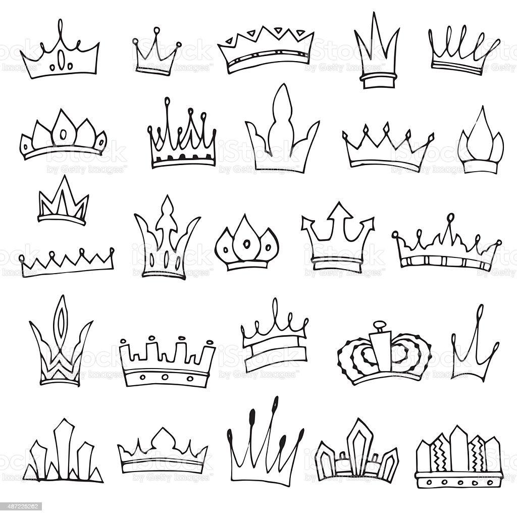 Set of hand-drawn crowns vector art illustration