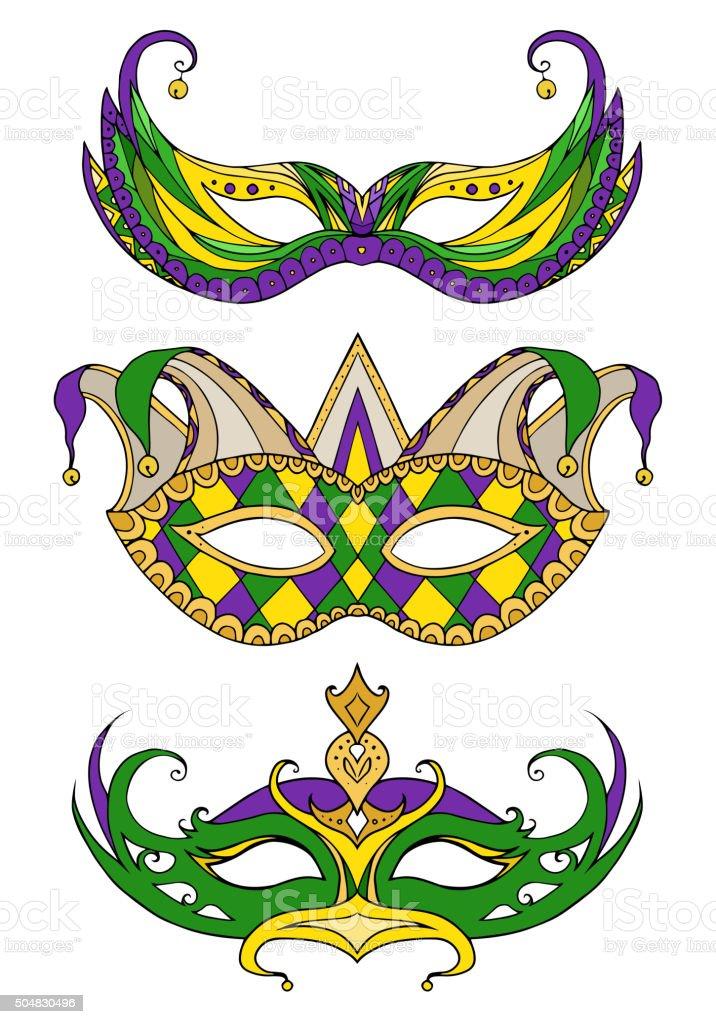 Set of hand-drawn doodle face masks. Festival Mardi Gras vector art illustration