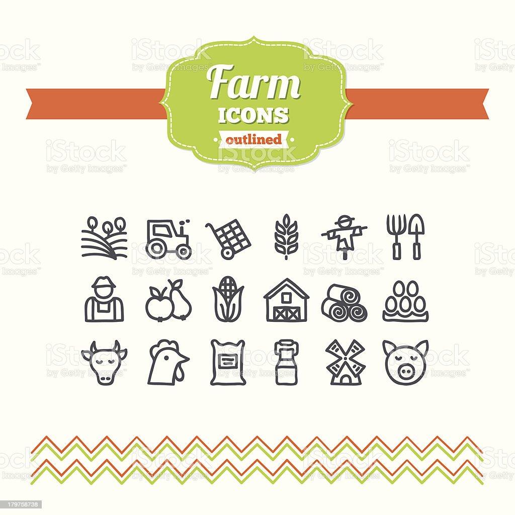 Set of hand-drawn farm icons vector art illustration