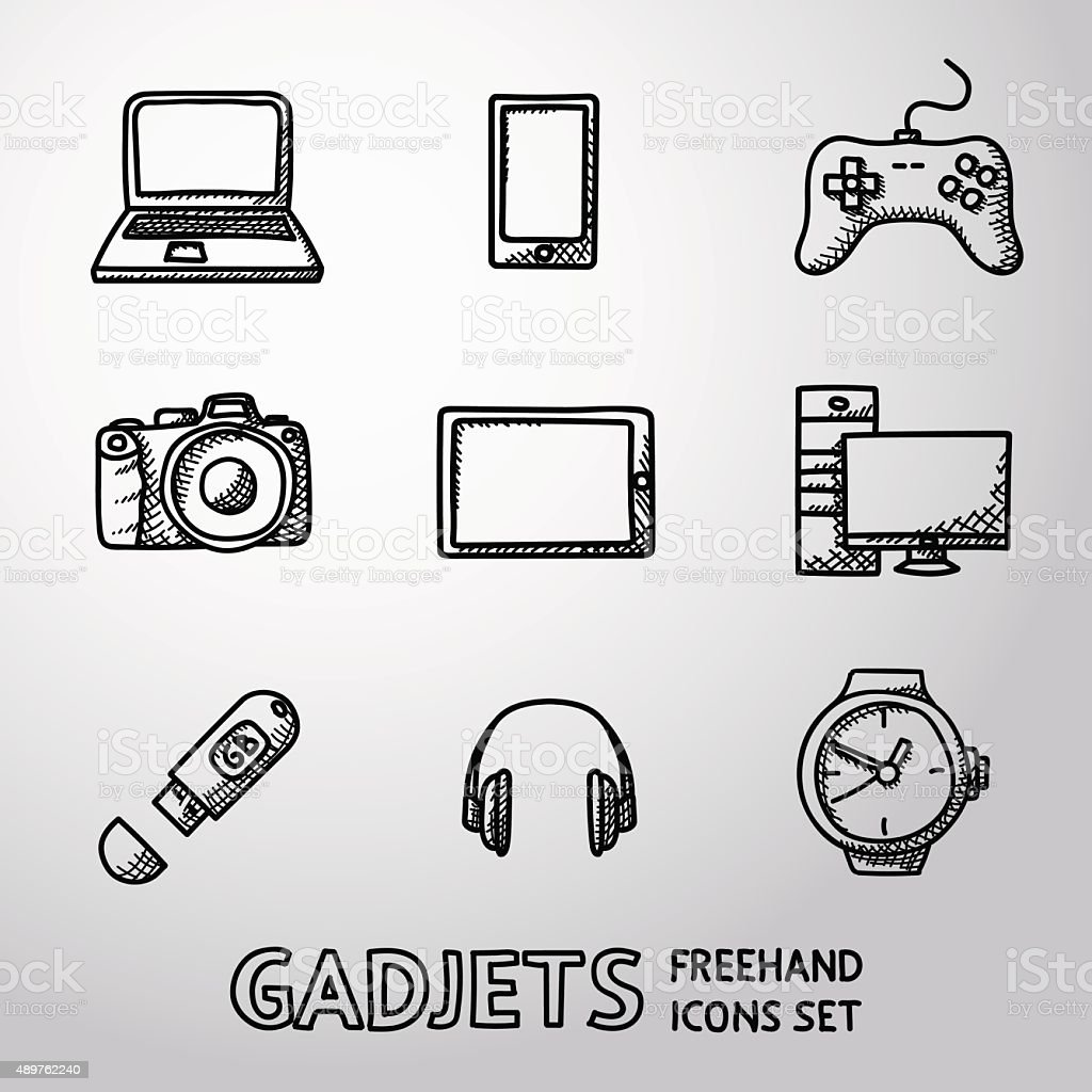 Set of handdrawn GADGET icons with - notebook, phone, gamepad vector art illustration