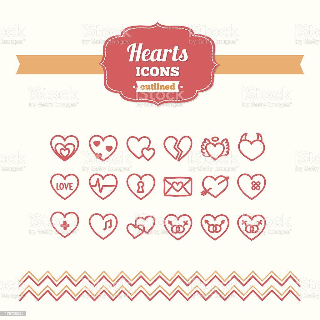Set of hand-drawn hearts icons royalty-free stock vector art