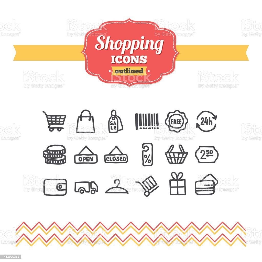 Set of hand-drawn shopping icons royalty-free stock vector art