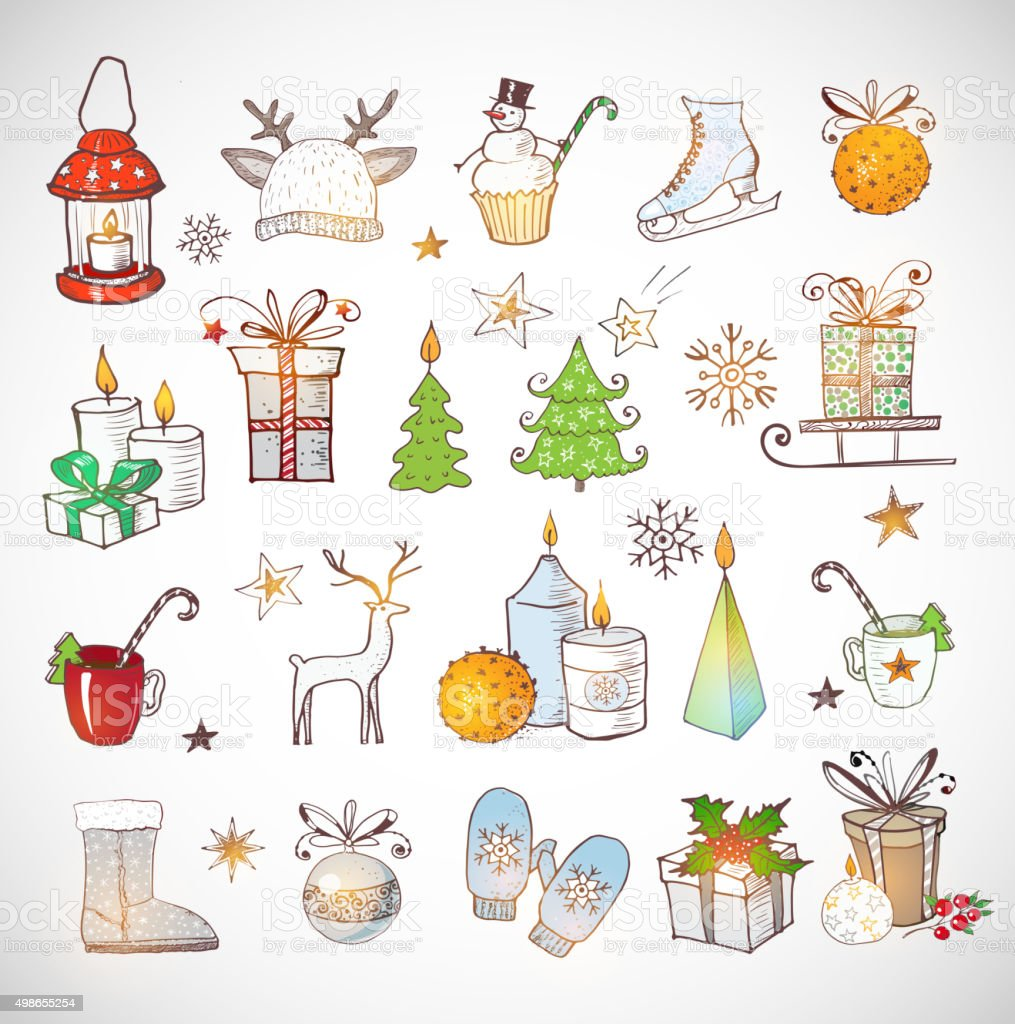 Set of hand-drawn sketchy christmas elements. vector art illustration