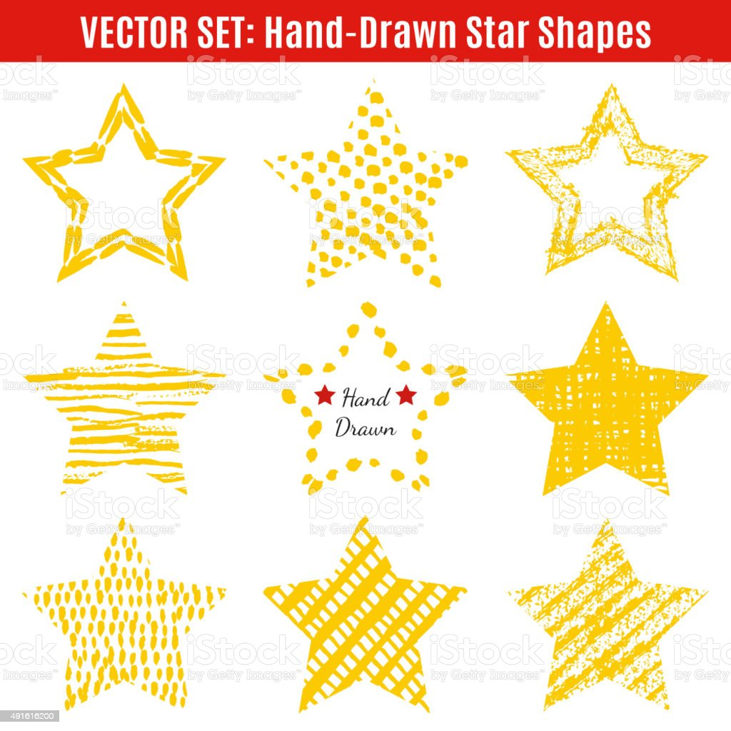 Set of hand-drawn textures star shapes.  Vector illustration for vector art illustration