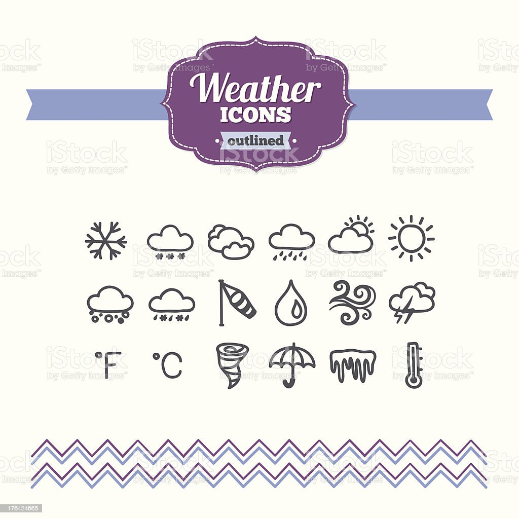 Set of hand-drawn weather icons royalty-free stock vector art