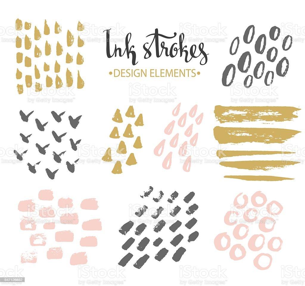 Set of hand-drawnstylish hipster strokes. vector art illustration