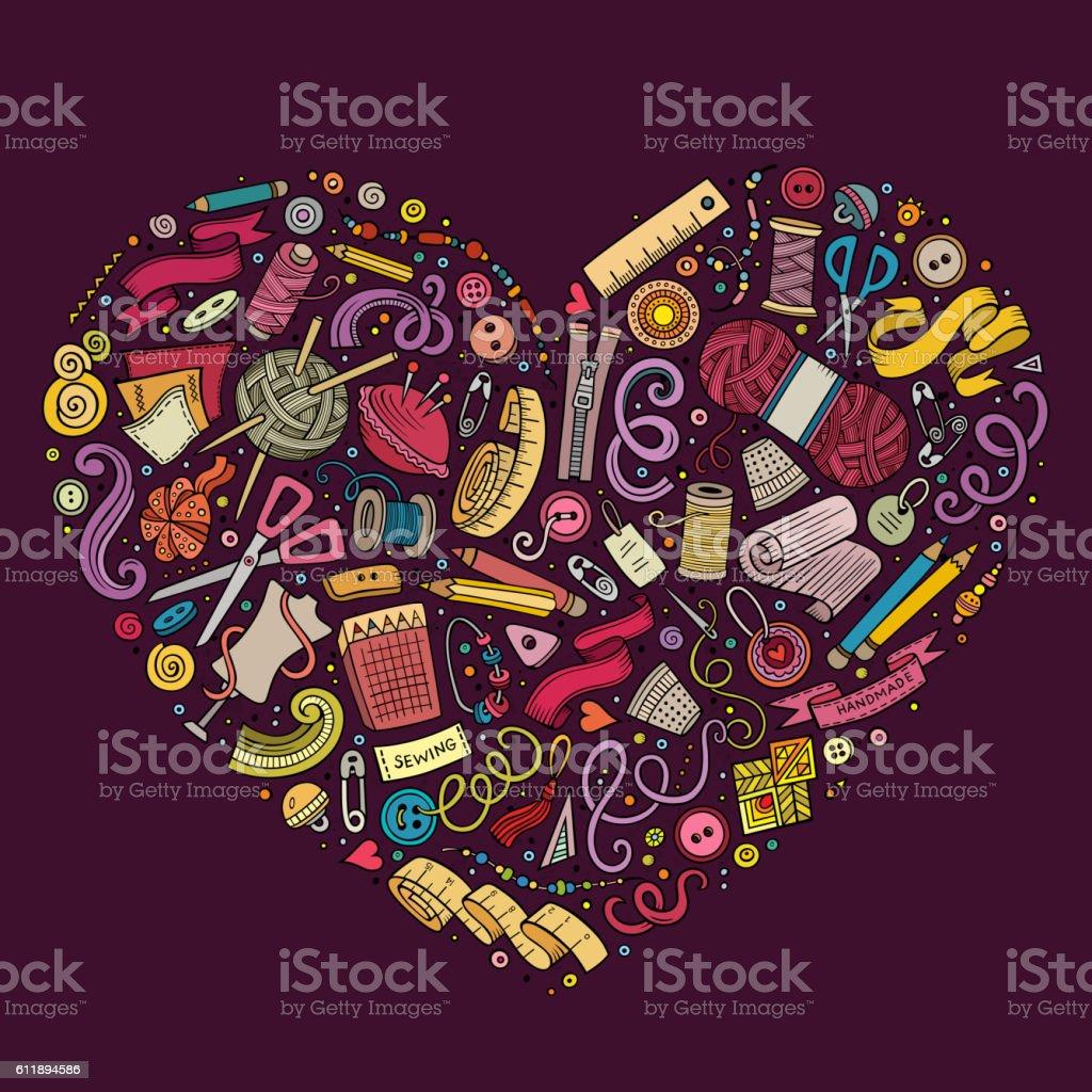 Set of Handmade cartoon doodle objects, symbols and items vector art illustration