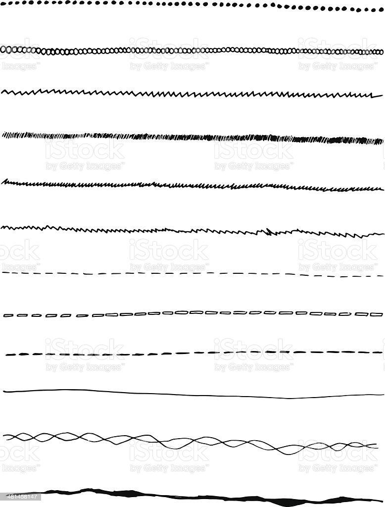 Set of handmade lines vector art illustration