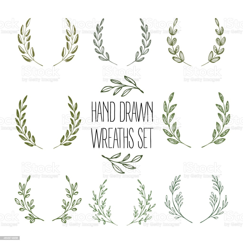 Set of hands drawn decorative wreaths. Vector illustration vector art illustration