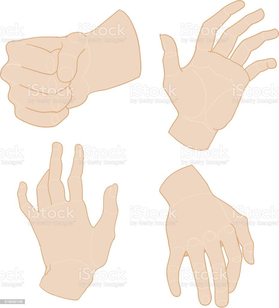 Set of hands. Vector illustration vector art illustration