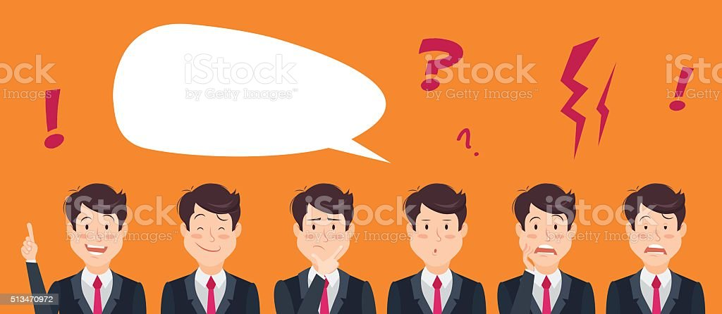Set of handsome emotional businessman vector art illustration
