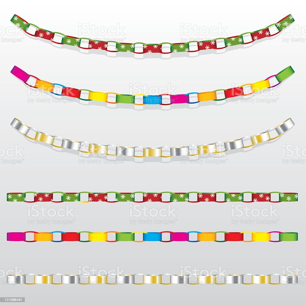 Set of Hanging Paper Chain Decorations vector art illustration