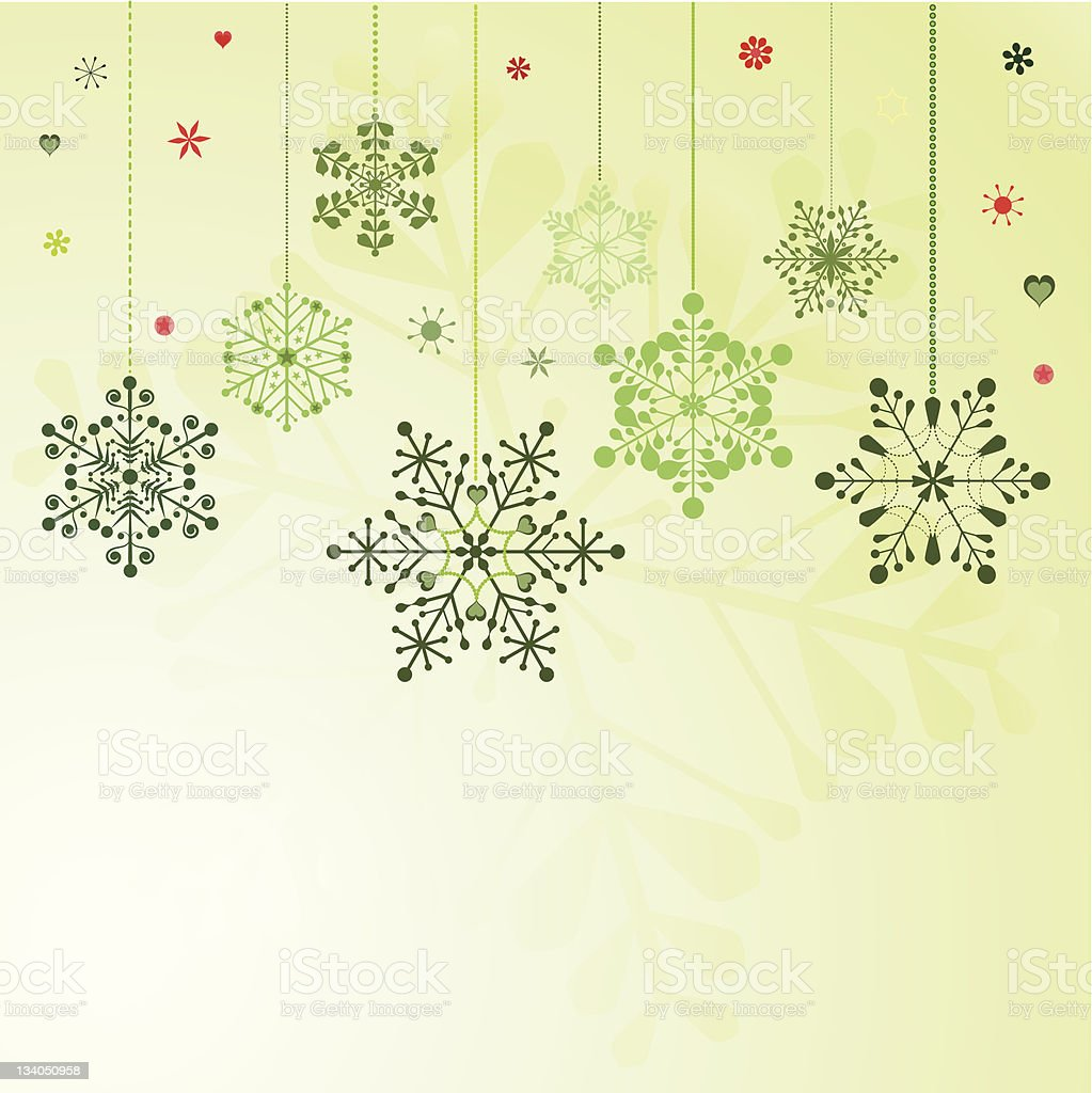 Set of hanging snowflakes royalty-free stock vector art