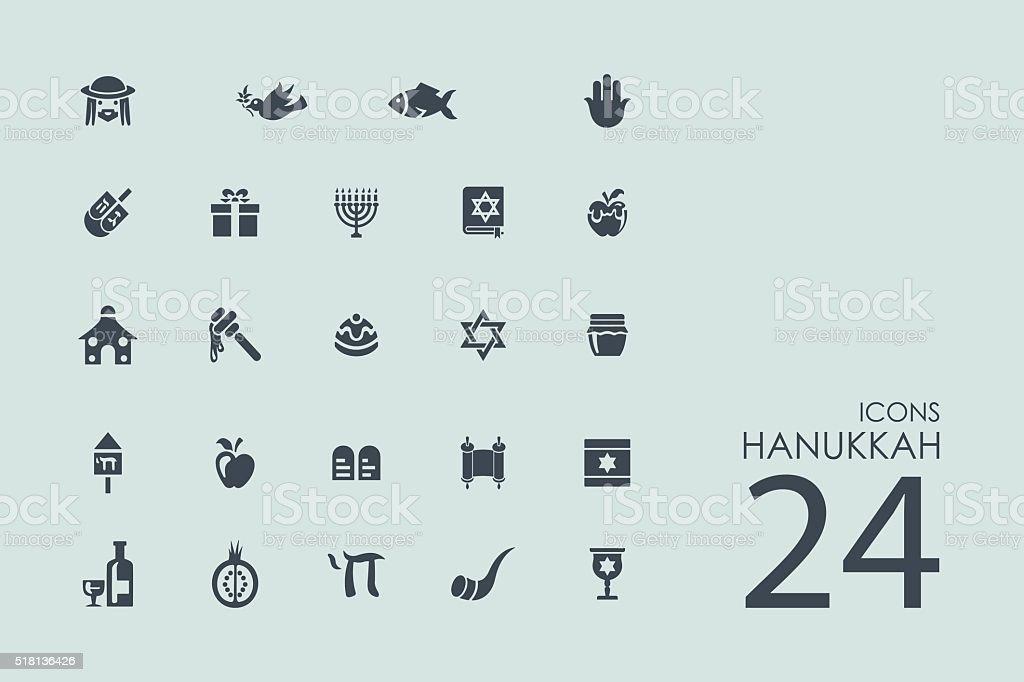 Set of Hanukkah icons vector art illustration