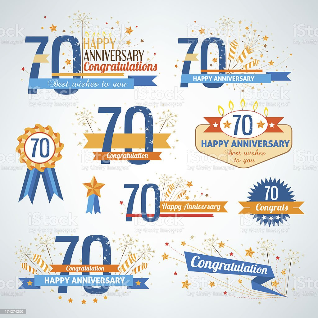 Set of happy anniversary design elements royalty-free stock vector art