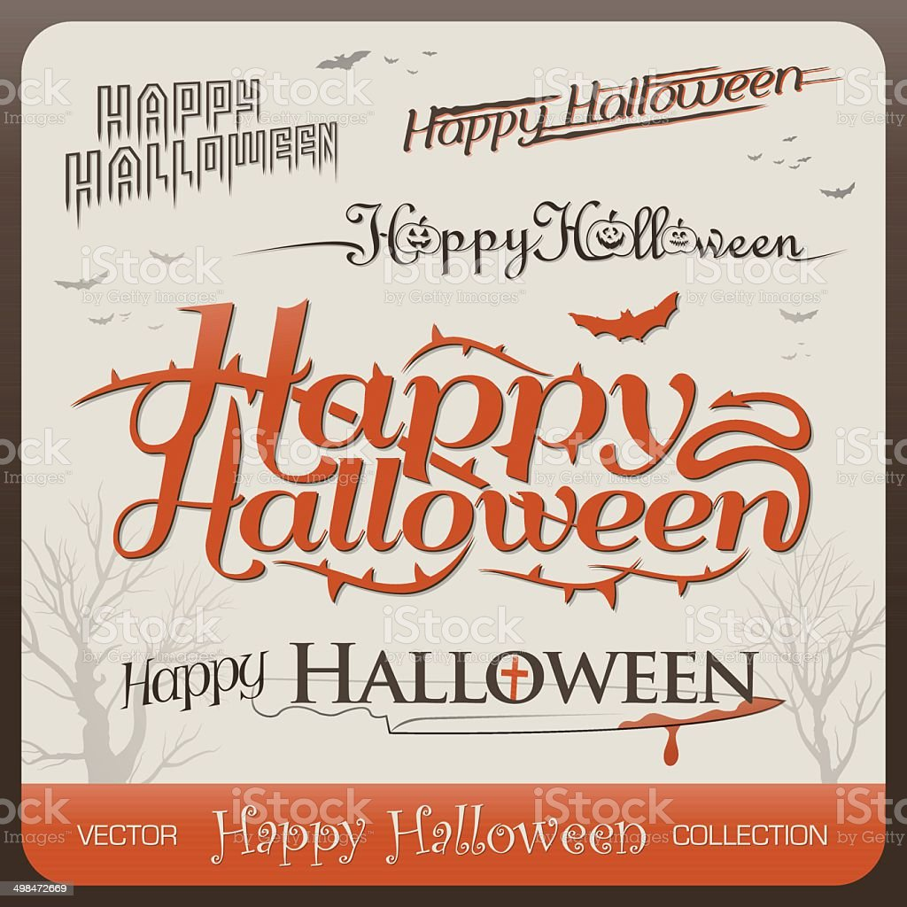 Set of happy halloween greetings typography royalty-free stock vector art