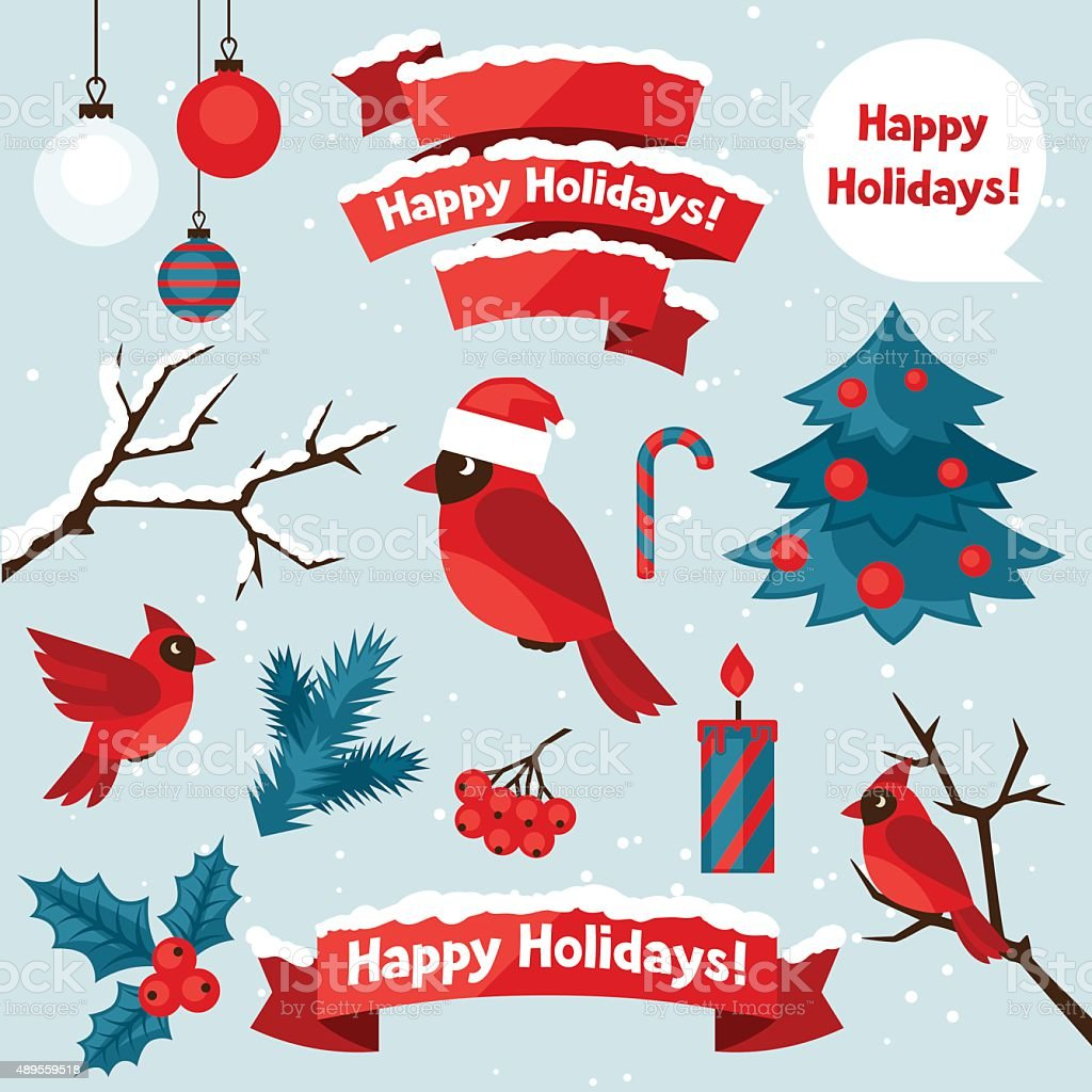 Set of happy holidays decorative elements and objects vector art illustration