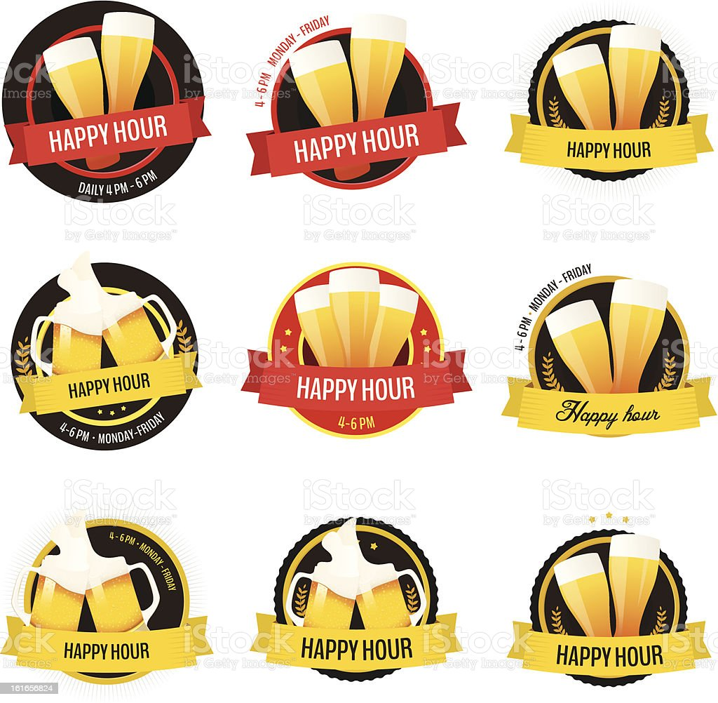 Set of happy hour restaurant, bar labels and badges royalty-free stock vector art