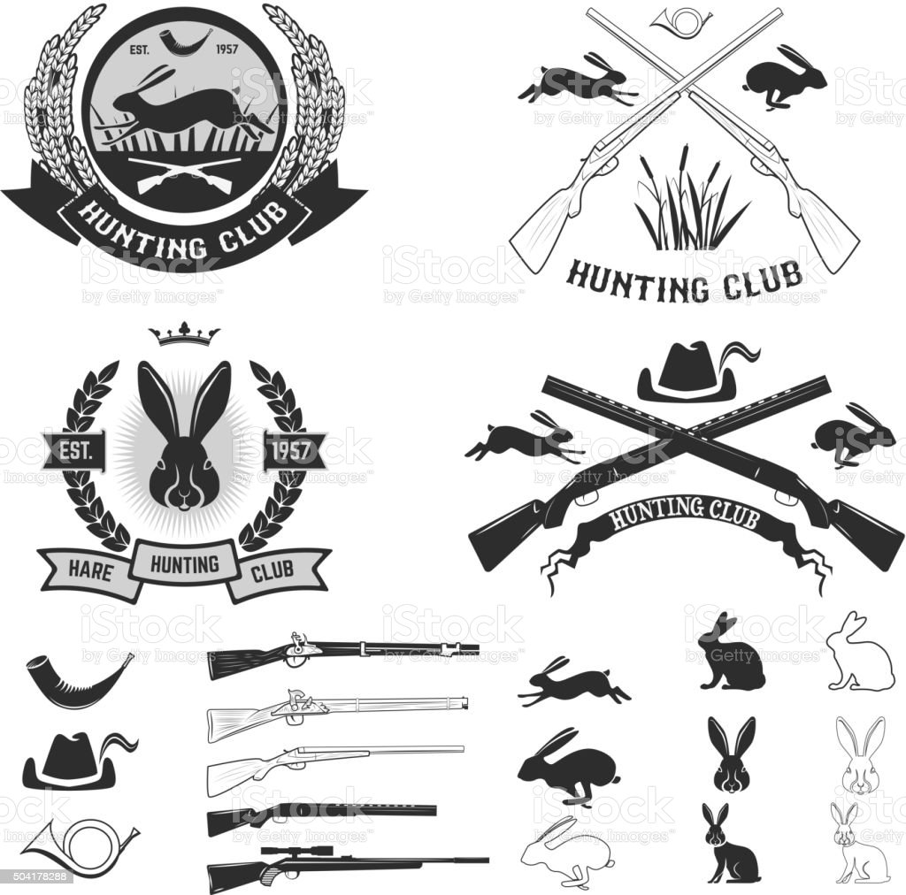 Set of hare hunting club labels. vector art illustration