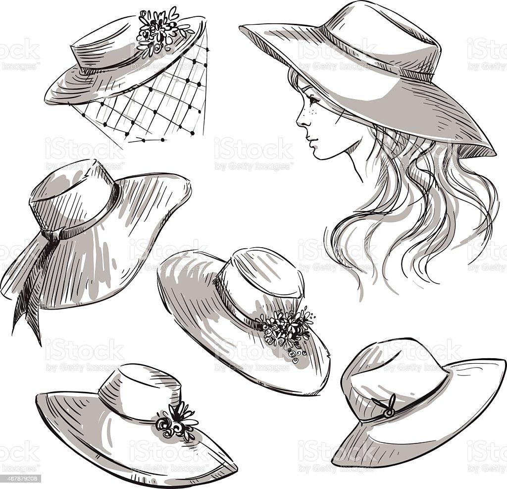 Set of hats. Girl in a hat. Fashion illustration. vector art illustration
