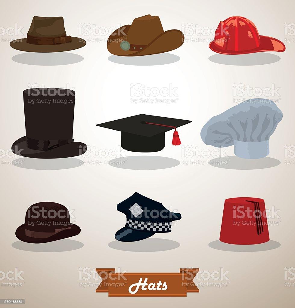 Set of Hats vector art illustration
