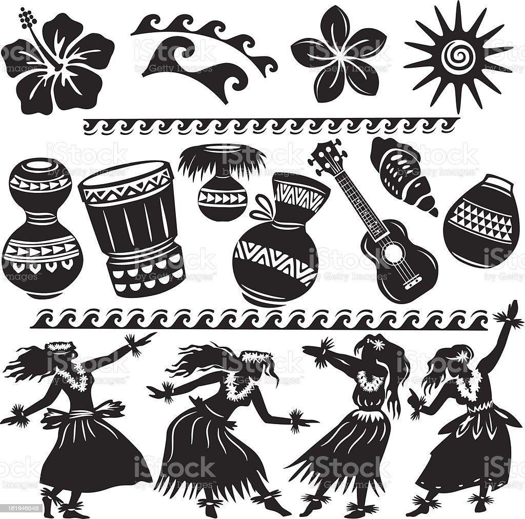 Set of Hawaiian dancers and musical instruments vector art illustration