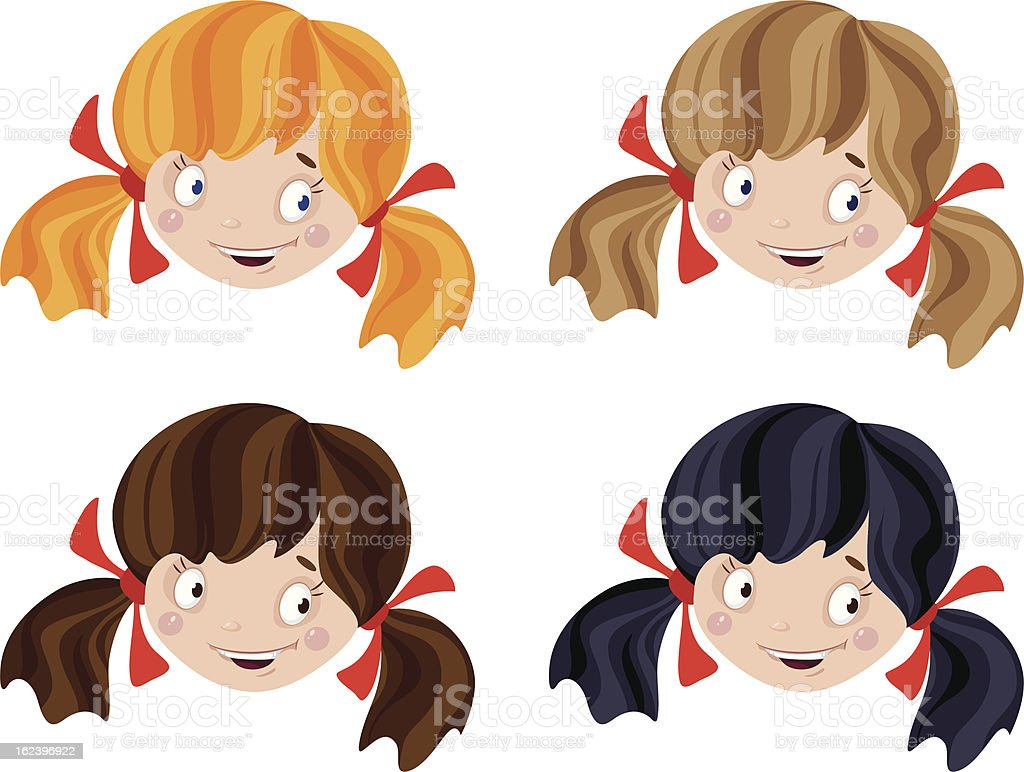 set of head funny girl royalty-free stock vector art