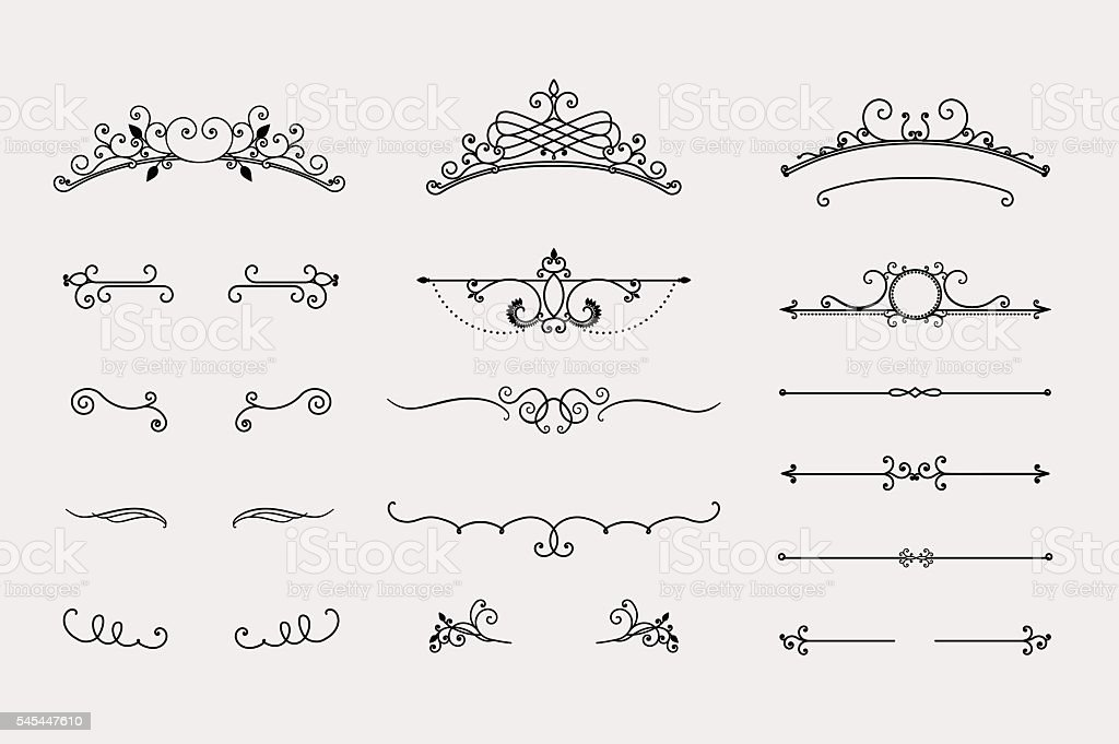 Set of headers and border elements vector art illustration