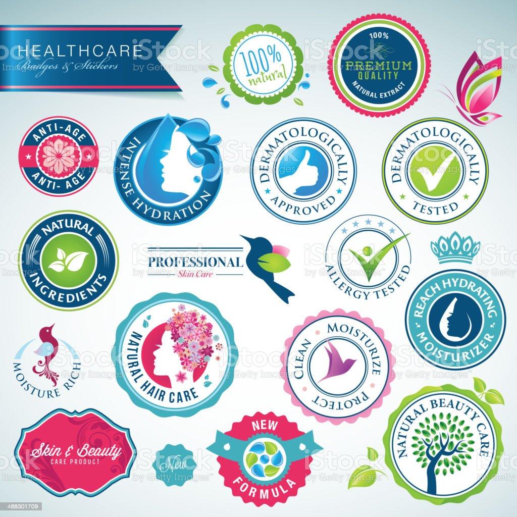 Conjunto de tarjetas de atención médica y pegatinas illustracion libre de derechos libre de derechos