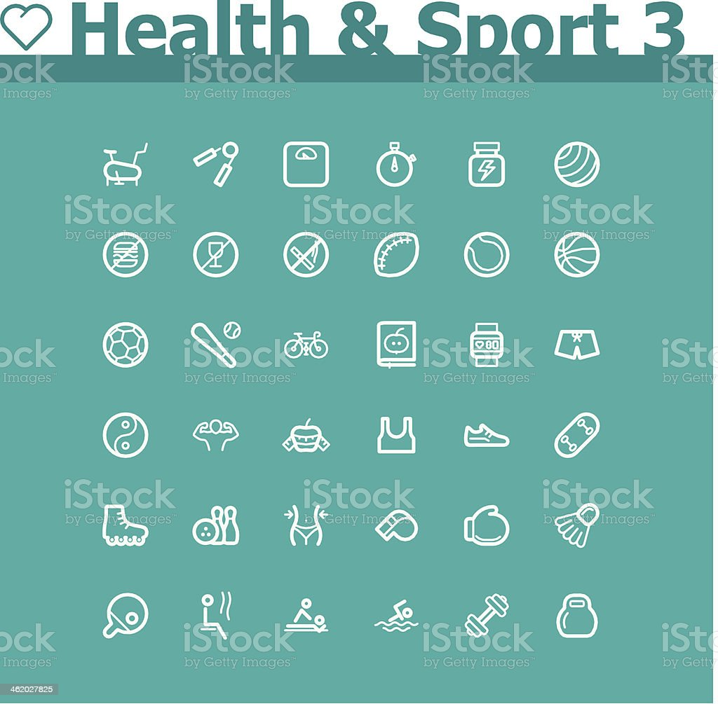 Set of healthcare and sport style icons royalty-free stock vector art