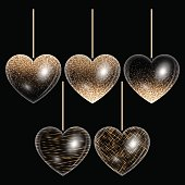 Set of hearts in gold style
