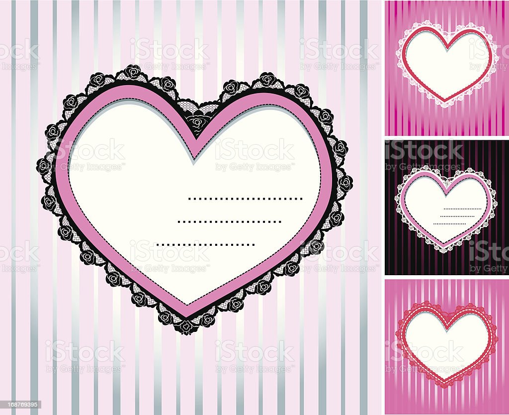 set of hearts shape lace doily on stripe background royalty-free stock vector art