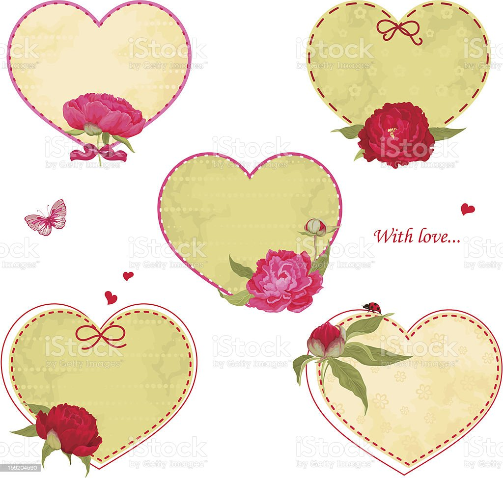 Set of hearts with peonies royalty-free stock vector art