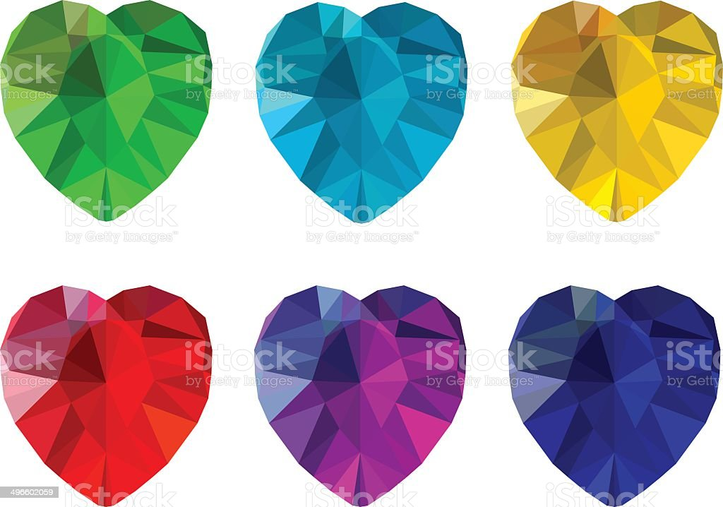 Set of heart-shaped gemstones royalty-free stock vector art