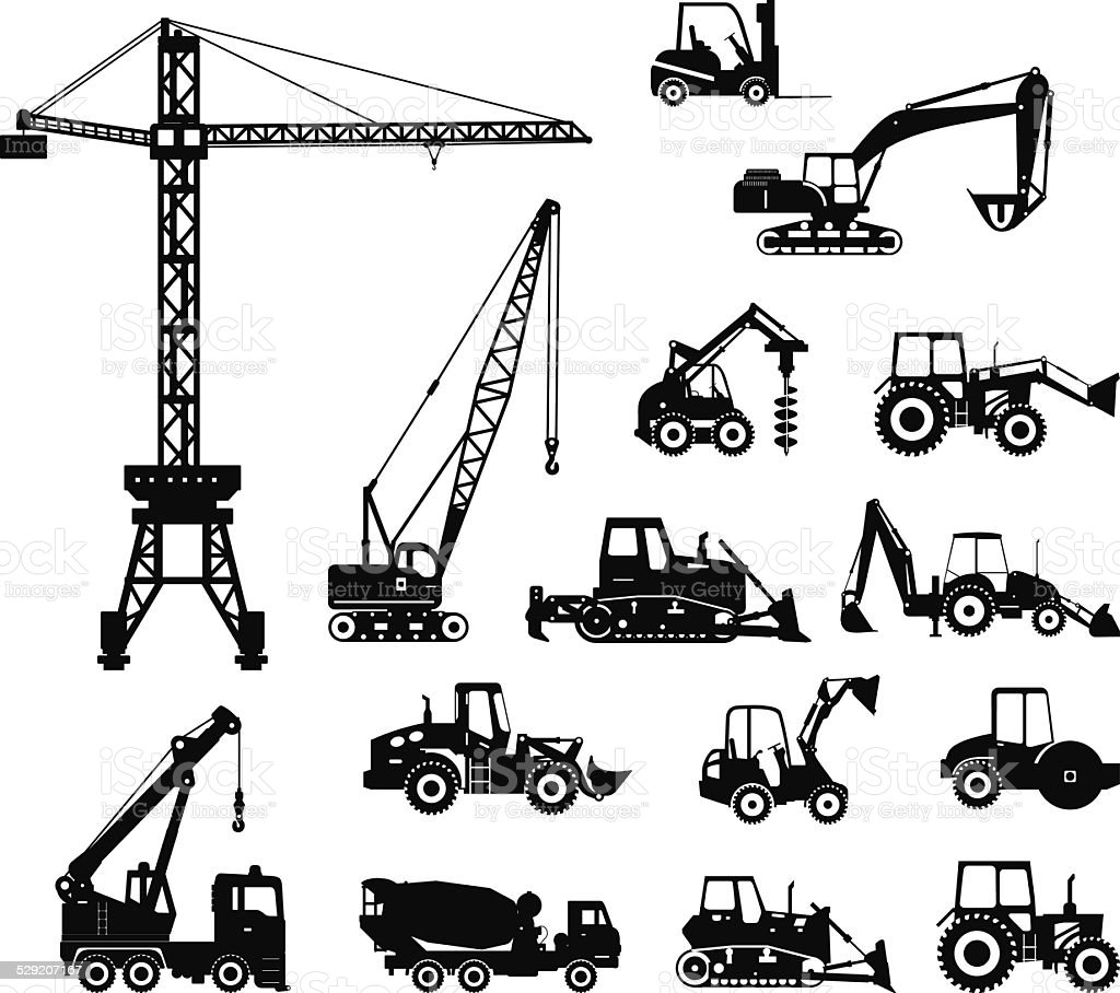 Set of heavy construction machines icons. Vector illustration vector art illustration