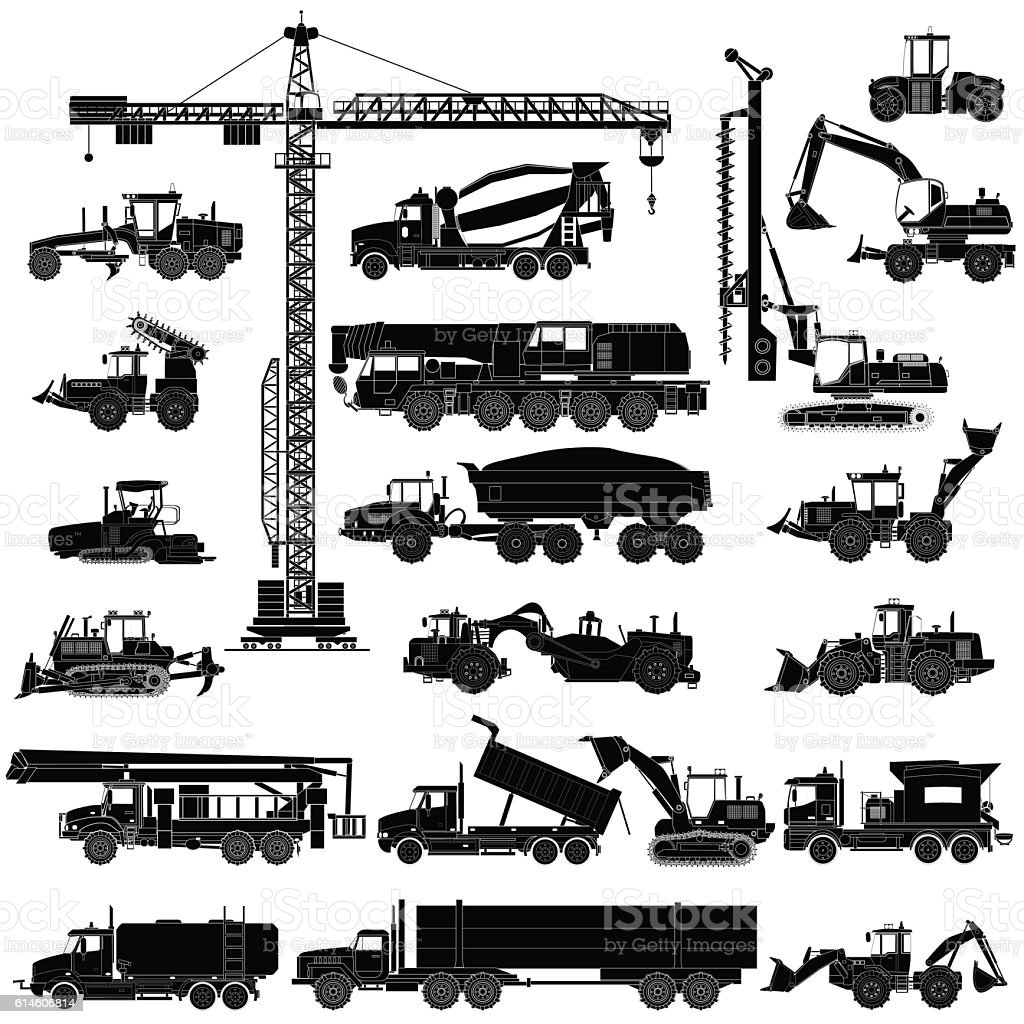 Set of heavy construction machines silhouettes, icons, isolated, vector vector art illustration
