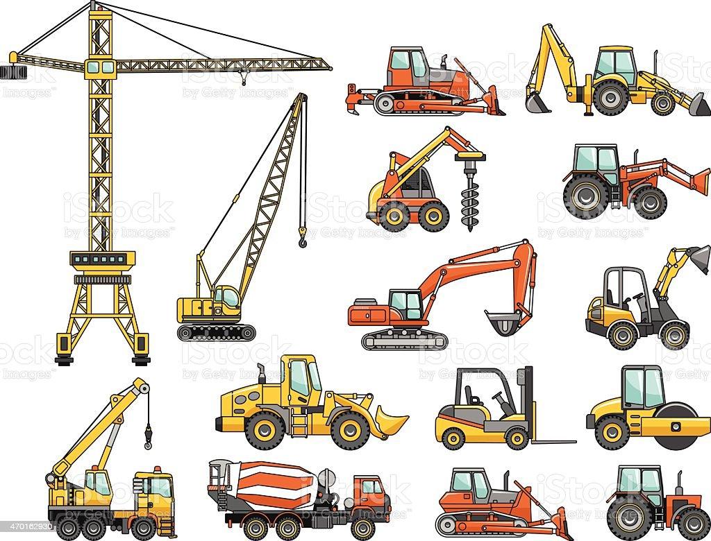 Set of heavy construction machines. Vector illustration vector art illustration