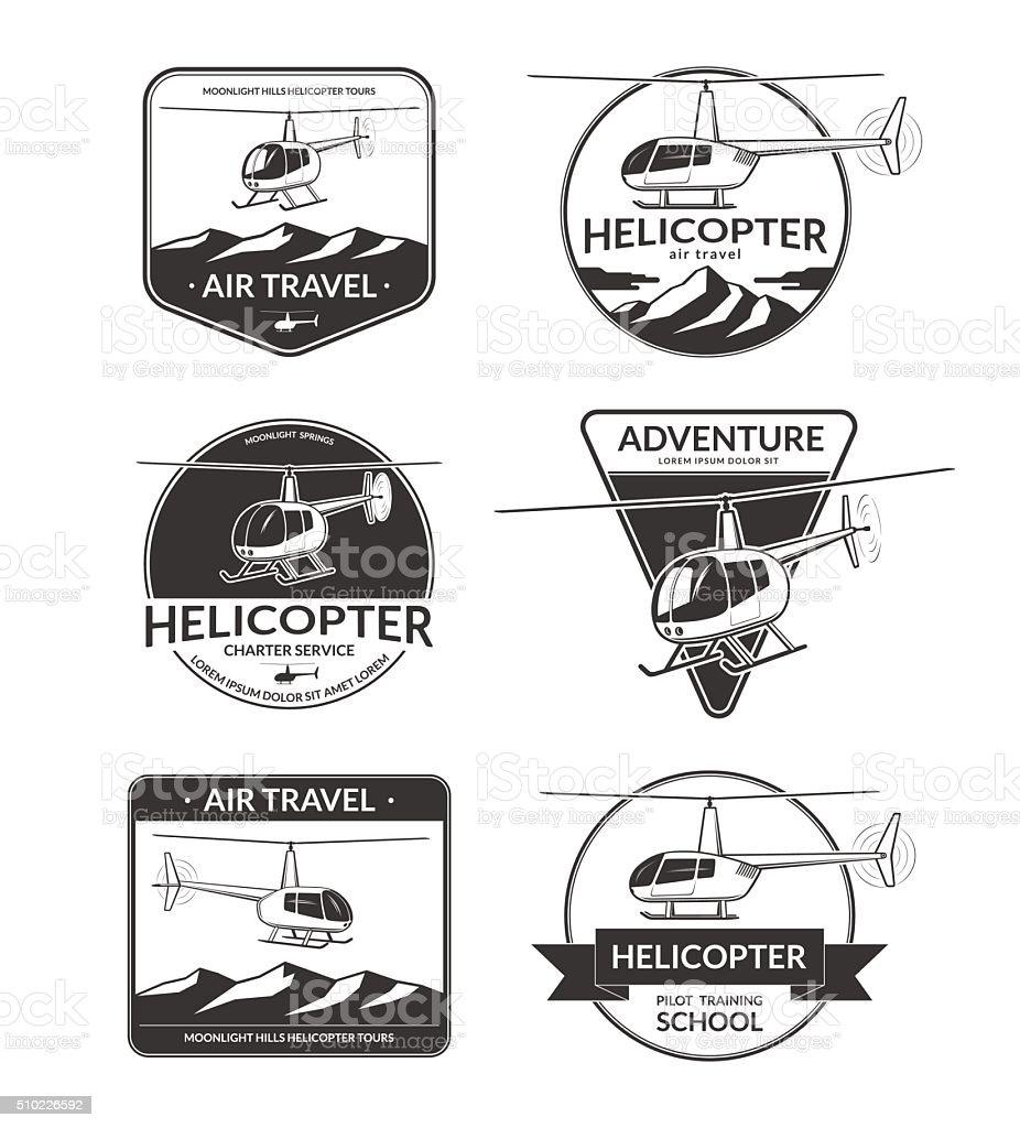 Set of helicopter logos, labels, design elements in vintage style vector art illustration