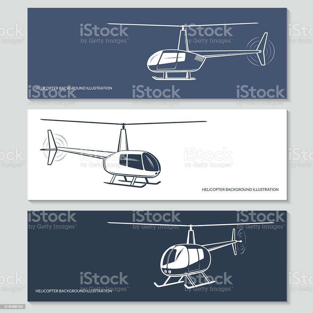 Set of helicopter silho vector art illustration