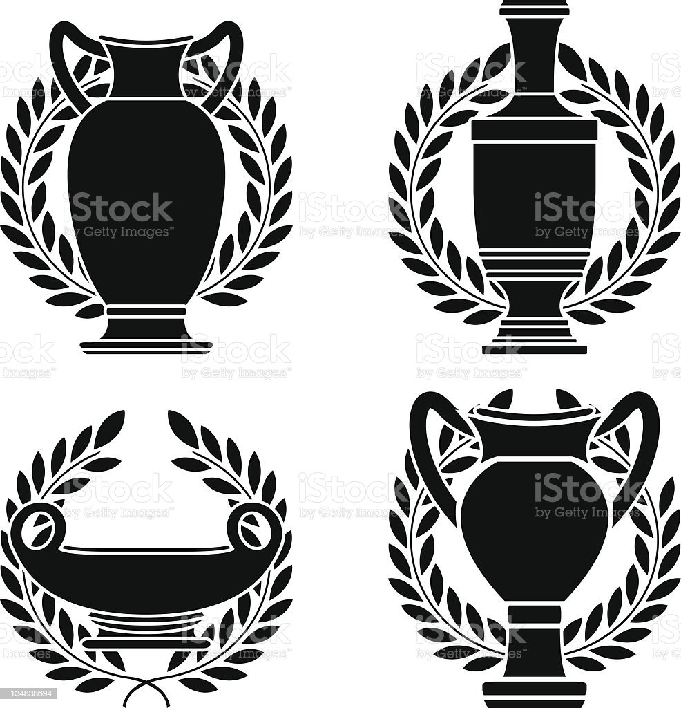 set of hellenic amphoras and vases royalty-free stock vector art