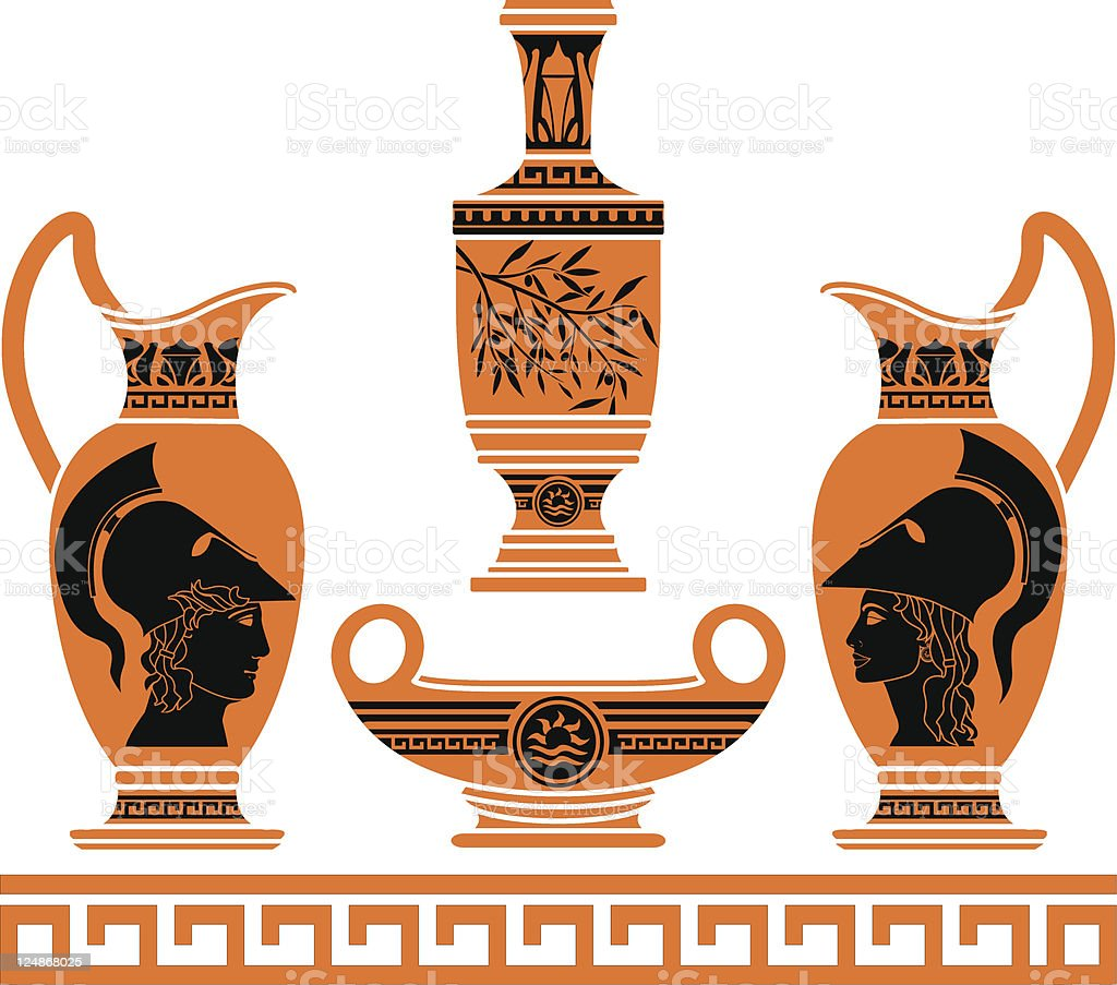 set of hellenic vases royalty-free stock vector art