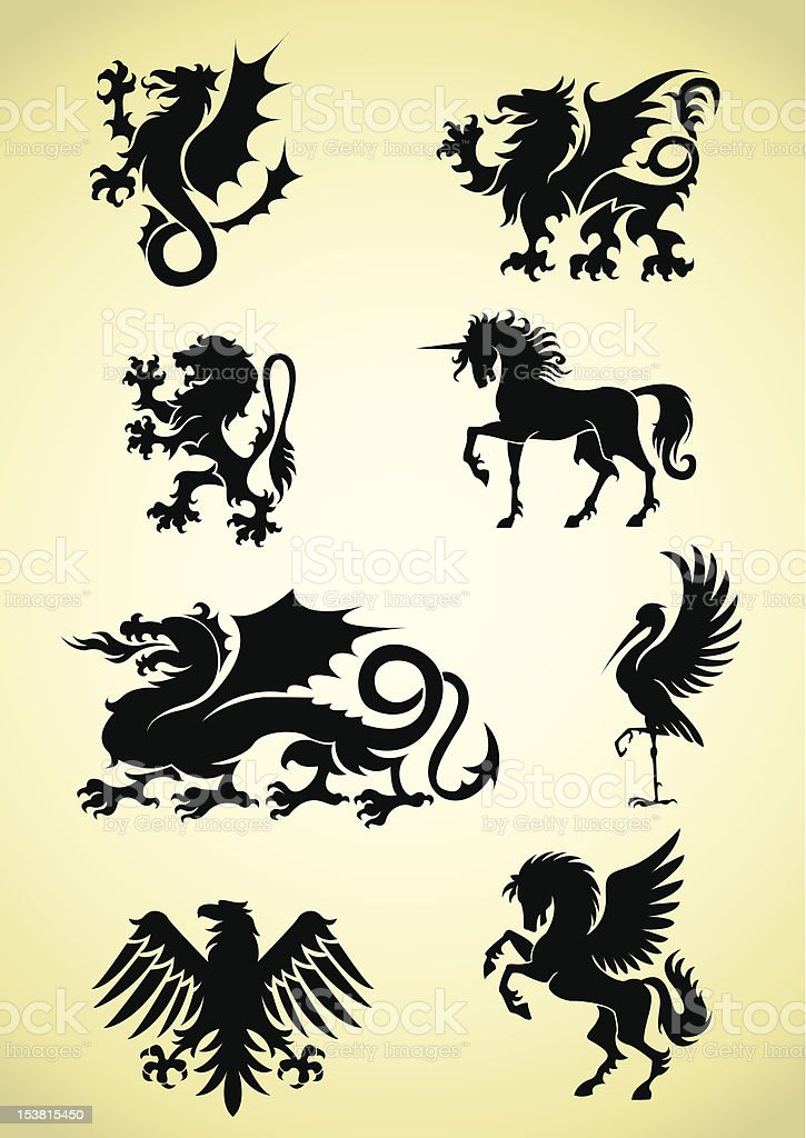Set of heraldry mythological animals vector art illustration
