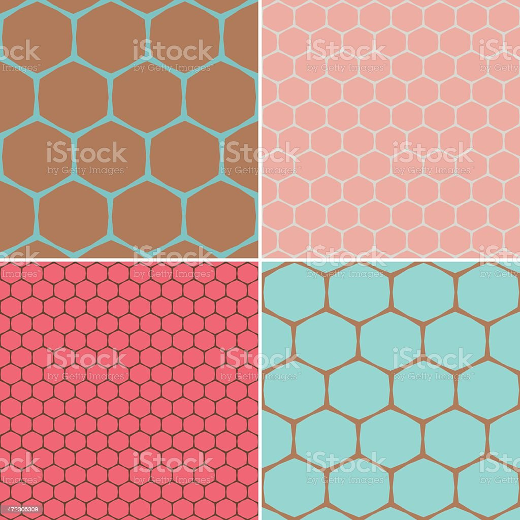 Set of Hexagon Patterns royalty-free stock vector art