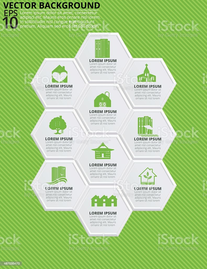 Set of Hexagon Shapes With Icons on a Striped Background vector art illustration